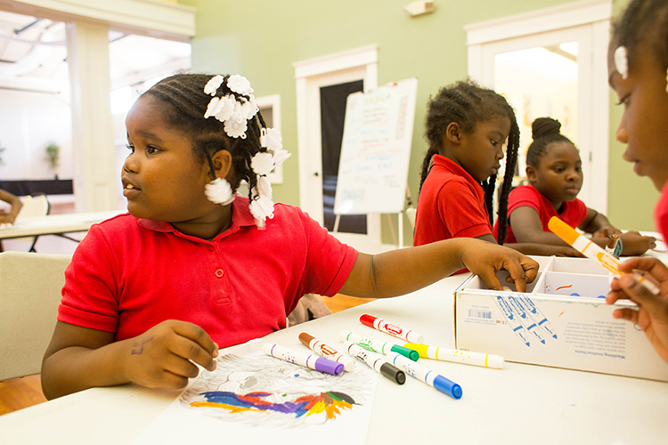 After school students work on therapeutic art at the Tampa Heights Youth Development and Community Center.