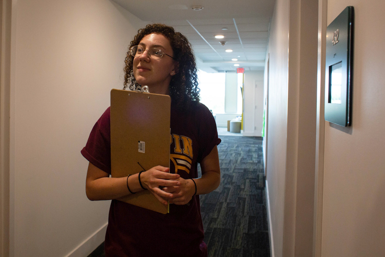 Kayla Homsey, is a resident at Beacon Hall dorms at USF, a co-ed dorm that houses 290 students.