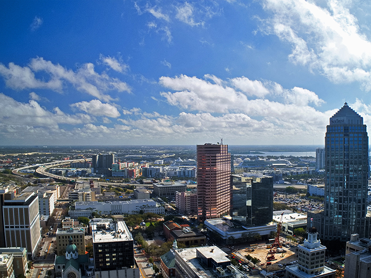 Drone perspective of potential view from Arris Tampa.