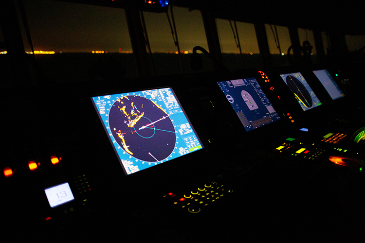 Navigation equipment on the bridge of a Chinese container ship.