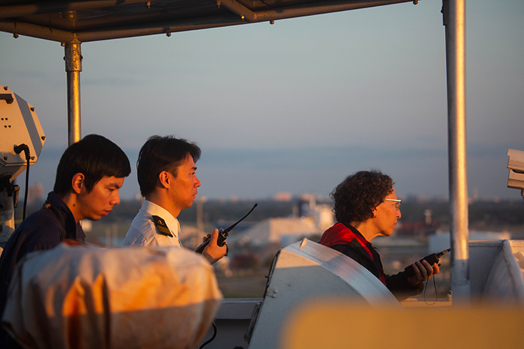 Chinese Ship Captain Yang Yi Jun says Carolyn Kurtz is only the second female harbor pilot he has encountered in his career.