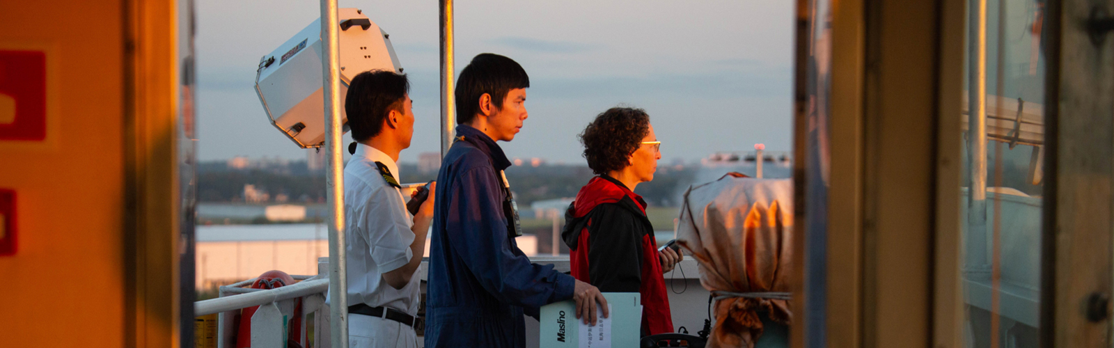 Harbor Pilot Carolyn Kurtz leads a Chinese crew as they dock an 857-foot container ship arriving in Port Tampa Bay from international waters.