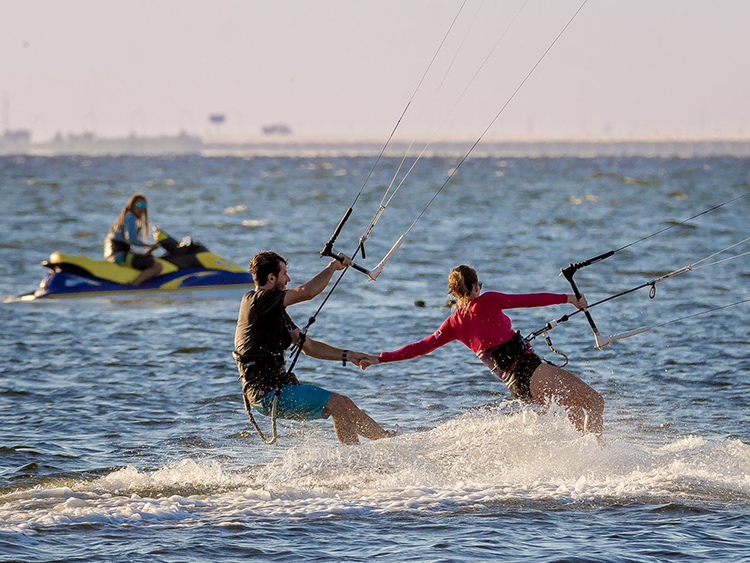 Anthony Franchi and his girlfriend Rebecca Wilcox kiteboarding in St. Pete.