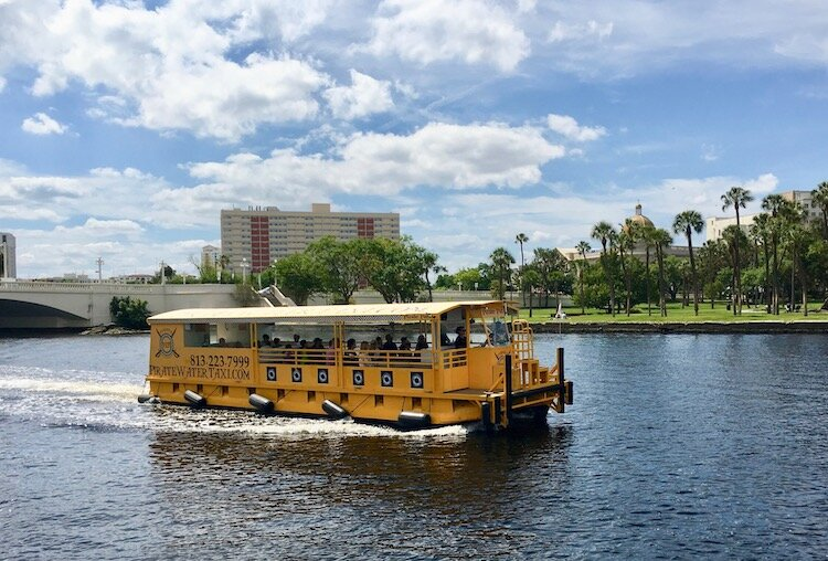 Water taxi provides easy transportation along the Hillsborough River through downtown Tampa.