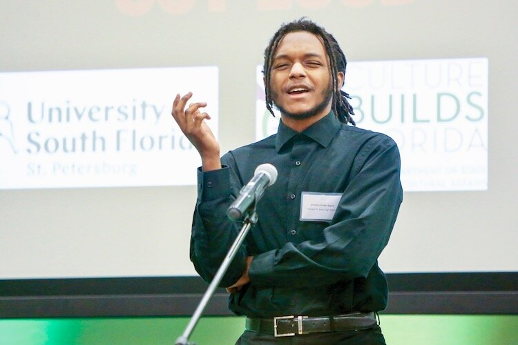 Poetry Out Loud winner Zhaedyn Hodge Sigars.