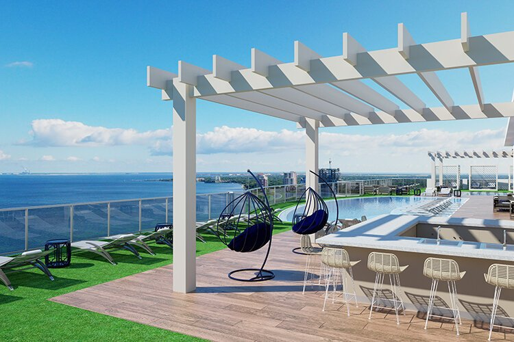 Rendering of the rooftop lounge at Altura Bayshore.