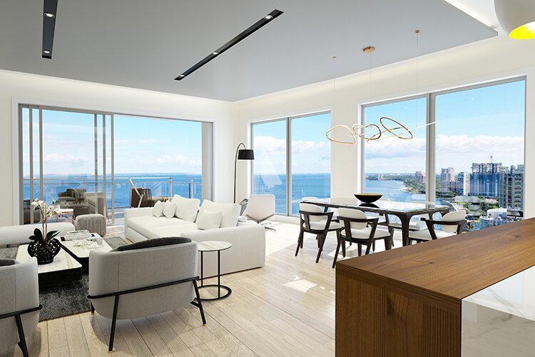 Rendering of a living room at Altura Bayshore.