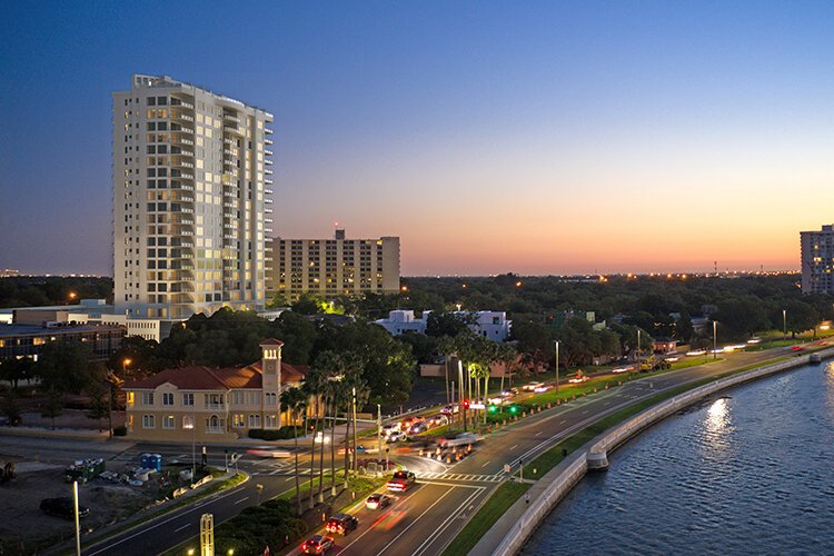 Sunset view along Bayshore Boulevard in Tampa.