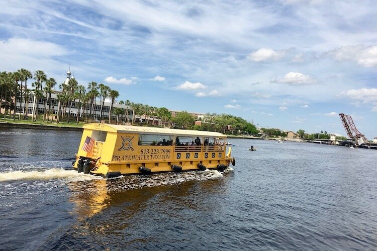 Water taxi delivers passengers up and down the Hillsborough River in downtown Tampa.