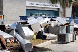 Construction waste piles up outside Lithia Springs Elementary in East Hillsborough County.