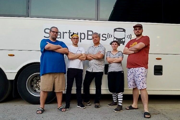 The Hyve team from Tampa Bay prepares to board the StartupBus Florida.