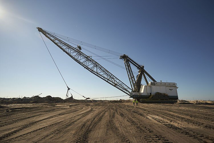A dragline mines for phosphate.