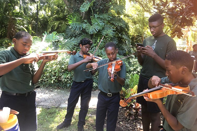 Young musicians at Free Museum Day at the Carter G. Woodson African American Museum.