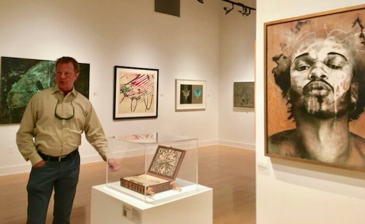 Stanton Storer talks about his art collection on display at the Scarfone/Hartley Gallery through Nov. 8, 2019.