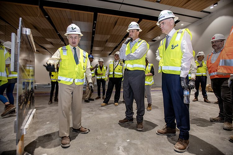 Charles Lockwood, left, dean of USF Morsani College of Medicine, led a tour of the new USF Morsani College of Medicine and Heart Institute, under construction on Channelside Drive.