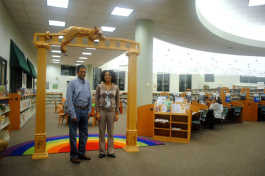 CoderDojo Tampa Bay founder Ramesh Sambasivan and library technical specialist Alison Harris. Justi