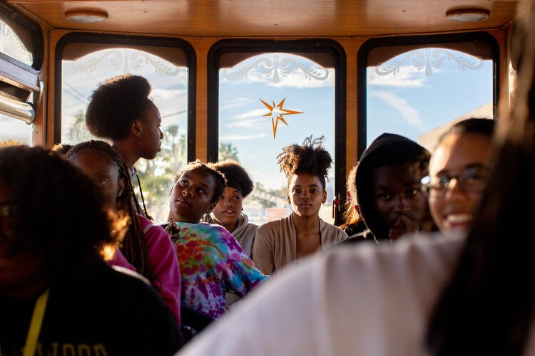Students ride the African American Heritage Trail Trolley Tour learning about St. Pete's African American history during times of segregation and integration, including key players of positive influence and some of the city's more tumultuous history.