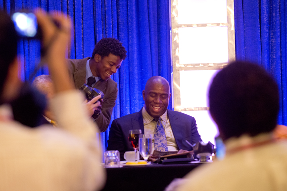 Magic Johnson responds to a student during the Black, Brown and College Bound summmit. - Julie Brana