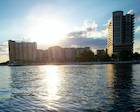 Water taxi view of Tampa skyline.
