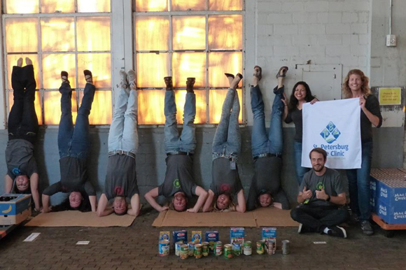 Handstands For Cans at the St Petersburg Free Clinic.