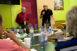 Del Acosta introduces Cafe con Tampa guest speaker Ray Chiaramonte, Executive Director Hillsborough County Planning Commission and Metropolititan Planning Organization.