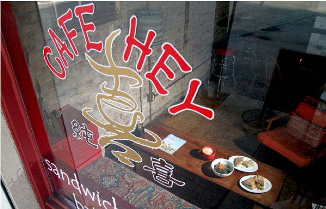 Cafe Hey is the starting point for the Brian Seel is one of the many organizers behind Franklin Street Better Block Project.