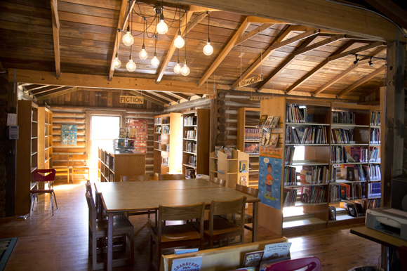 The library is a historic cabin built in Lutz in 1935 and gifted to the school.