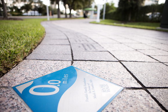 The Tampa Riverwalk starting mile marker