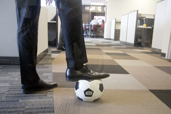 Kicking the ball around at VACO in Tampa.