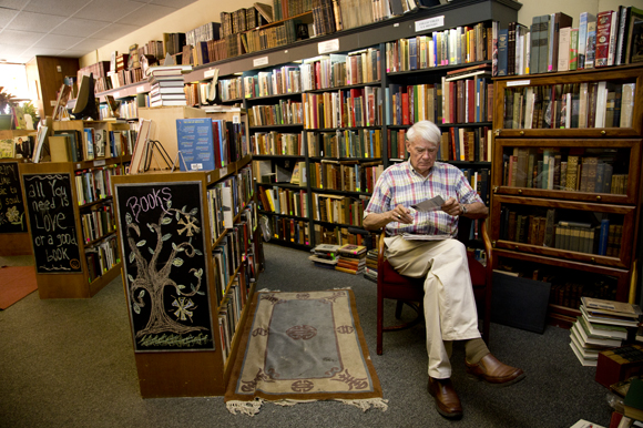 David Brown takes a quiet moment at Old Tampa Book Company.