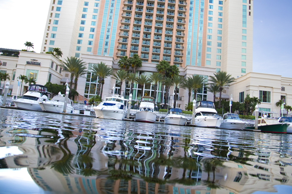Boat slips at Tampa Marriott Waterside.