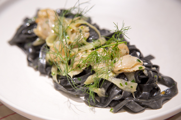 Tagliatelle al Nero di Seppia with Key West pink shrimp and Two Docks clams at Locale Wine Bar.