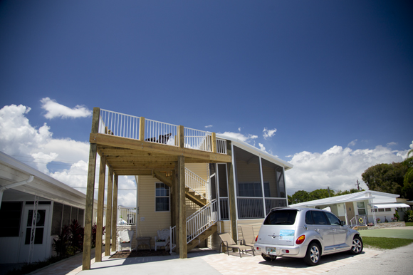 Manufactured home with deck at Trailer Estates.