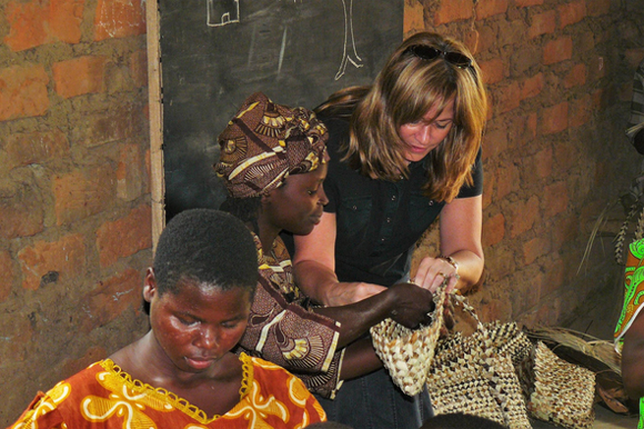 Deb learning to weave banana fibre.