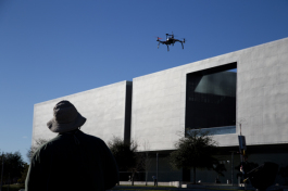 George Papabeis demonstrates drone flying techniques at Curtis Hixon Park.