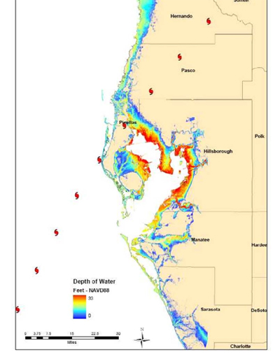 Region Map With Storm Surge Flood Depths figure from the Phoenix Project.