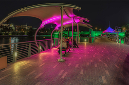 Nighttime provides a special experience on The Tampa Riverwalk.