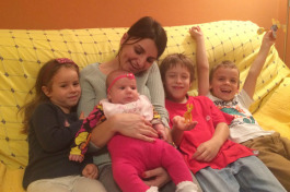 Karolak spends time with her nieces and nephews during a 2015 trip to Serbia.