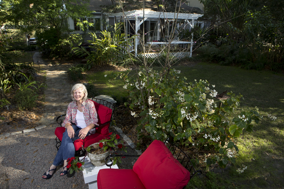 Landscape architect Laurie Potier-Brown designed the backyard of her Seminole Heights home.