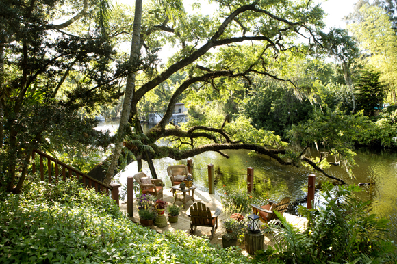 Landscape architect Laurie Potier-Brown designed the backyard of her Seminole Heights.