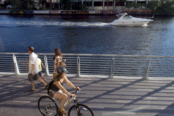 The Tampa Riverwalk.