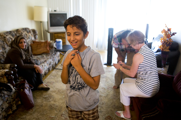 Omar Aljajea, 9, at home in Tampa.