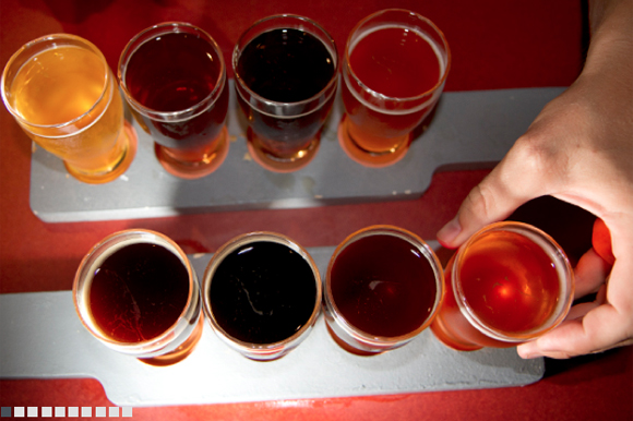 Beer flight at Cigar City Brewing.