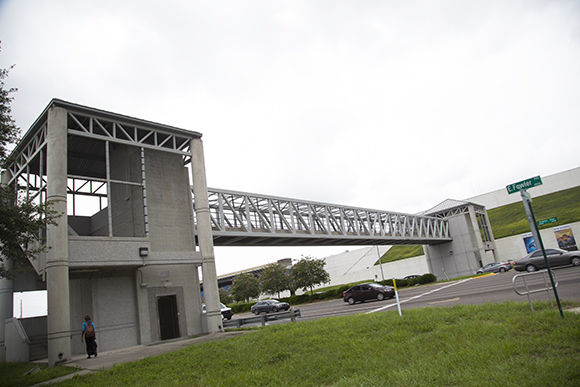 The pedestrian bridge over Fowler Ave. connects USF and MOSI.