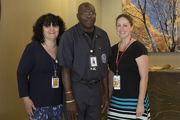 (L-R) Caseworker Teri Taylor, William Cooper and Dr. Mary Dorritie, chief of Tampa VAMC domiciliary care.