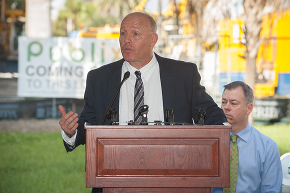 Ken Stoltenberg made remarks before a ceremonial groundbreaking of Channel Club and a downtown Publix on East Madison Street Friday (10/21/16) morning in Channelside.