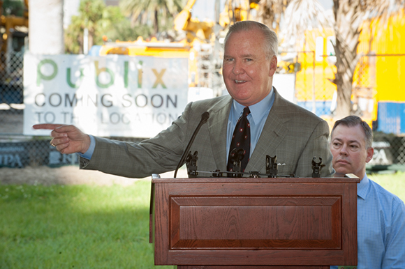 Tampa Mayor Bob Buckhorn made remarks before a ceremonial groundbreaking of Channel Club and a downtown Publix on East Madison Street Friday (10/21/16) morning in Channelside.