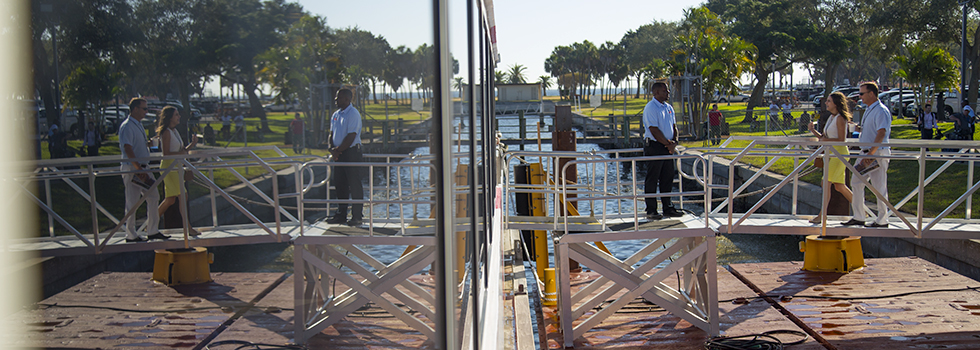 The Cross-Bay Ferry prepares to disembark from downtown St. Pete.  <span class=&apos;image-credits&apos;>File photo/Julie Branaman</span>