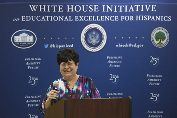 Lourdes Villanueva, Director of Farmworker Advocacy for R.C.M.A., speaks at the White House Initiative on Educational Excellence for Hispanics event at H.C.C. in Ruskin.