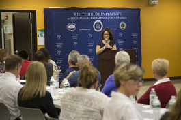 Delia Garcia, senior liaison, National Education Association, speaks at the White House Initiative on Educational Excellence for Hispanics event at H.C.C. in Ruskin.